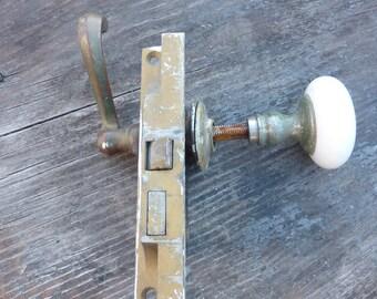 1930's Russwin porcelain door knob, door handle, lock set