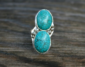 50% OFF SALE - Double Turquoise Sterling Silver Ring - Size 6.5