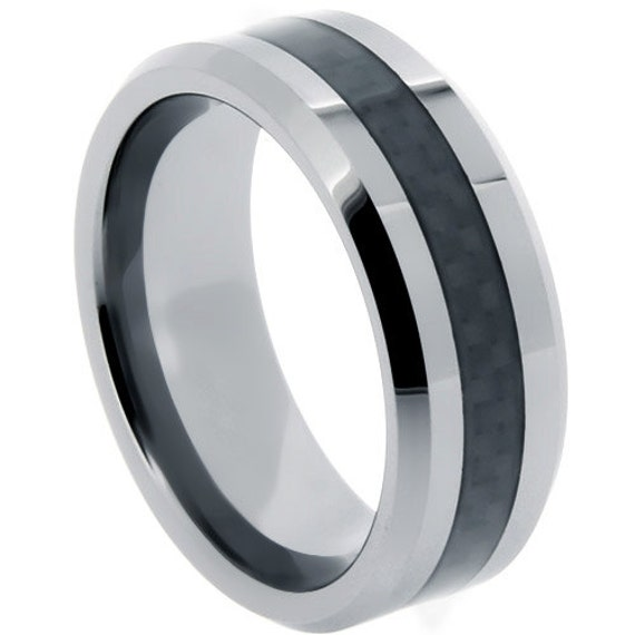 Tungsten Rings Black Carbon Fiber Inlay Wedding By Usajewelry