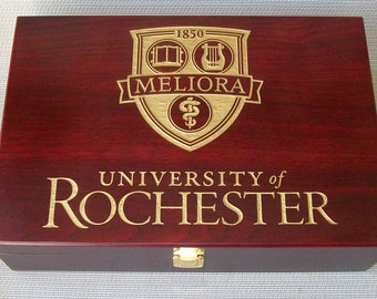 Large Rosewood Finish Wooden Box Customized with any Font, Graphic or Logo