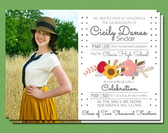 Printable Graduation Announcement, Party Invitation, Optional 2-sided, Multiple photo back side, Modern Floral