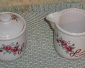 Clearance Vintage WBI China Pink Rose Bouquet Design Creamer Pitcher Sugar Bowl w Lid Retro Home Kitchen Dining