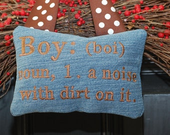 Embroidery Pillow Design - In the hoop - Boy noise with dirt on it
