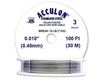 Acculon Nylon Coated Beading Wire Silver 3 Strand 0.45mm 30 meters Spool