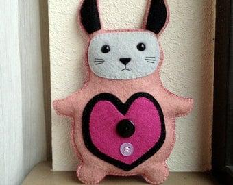 Stuffed Animal Stuffed Felt Bunny Rabbit Softie Plush Toy Pink and Black by UsagiRabbit