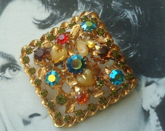 Austria Signed 1950's Heart Shaped Art Glass Stone Brooch
