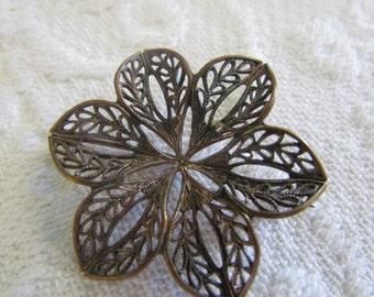 SALE....Antique Filigree metal Brooch