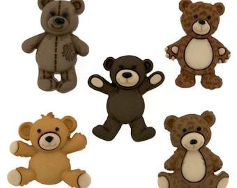Teddy Bear Buttons 5 pc