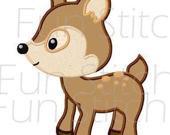 Deer applique machine embroidery design instant download
