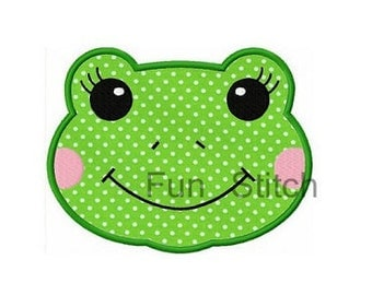 Frog applique machine embroidery design