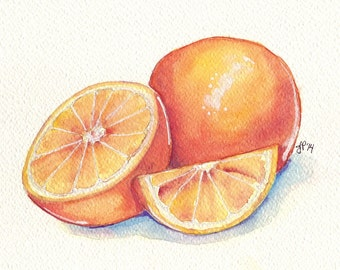 Oranges Still Life Watercolor Painting - Orange Fruit Slice Watercolor Art Print, 8x10 Print