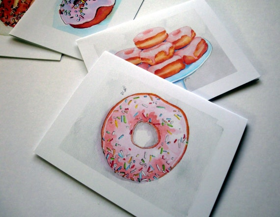 Doughnut Card Set - Donut Watercolor Art Notecards - Breakfast Food Greeting Cards Stationery Set - Set of 4