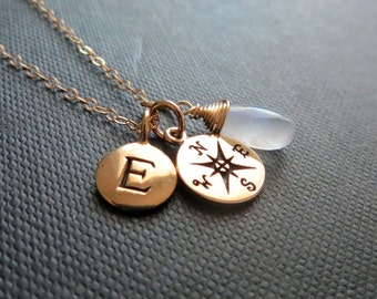 Initial and Compass necklace, Personalized compass necklace, birthstone, gold chain