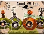 Halloween Art, Halloween, Illustration, Digital, Green, Orange, 5x7, Matted, Framed, Good Witch, Herbal Potions, Apothecary