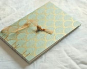 Art deco gold blue guest book fan gingko leaves damask fan pool aqua sky wedding album