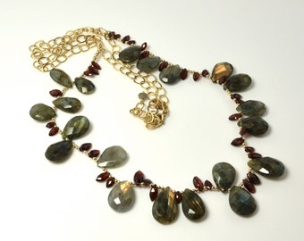 LP 1106  Pear Shaped Labradorite , Marquise Cut Garnet And 14K Gold Filled Statement Necklace