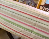 Square Striped Table Cloth With Stripes, Eco Friendly, Pastels, Up Cycled Fabric Pink, Green