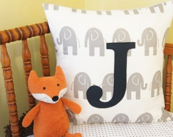 monogrammed pillow case, 20x20, custom letter/colour available, grey eles on white