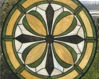 "Geometric Flower Circle -- 24"" x 24"" Stained glass window"