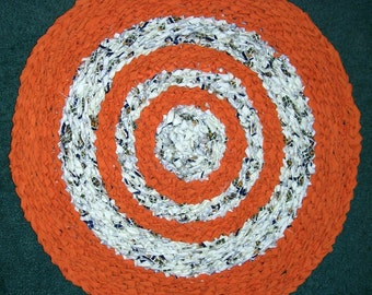 "Fall Rag Rug Floor or Pet Mat Crocheted 26"" Round Hand Made Orange w/White, Green Cotton - Country  FREE SHIPPING!!!"