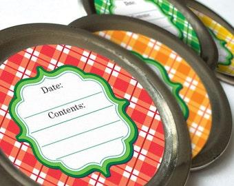 BRIGHT Plaid canning jar labels, round mason jar labels, jam jar label, jelly jar labels, food preservation kitchen stickers