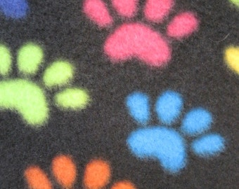 Paw Prints on Black with Green Handmade Fleece Blanket - This Blanket is Ready to Ship Now