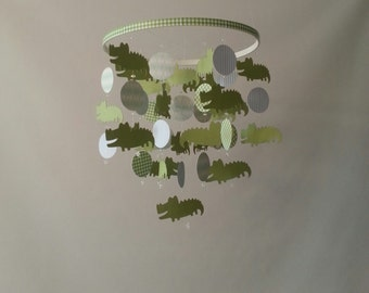 LIGHT Green and Blue Alligator Plaid Circle Baby Mobile