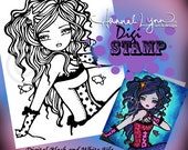 PRINTABLE Mermaid Digi Stamp Fish Coloring Page Fun Fantasy Art Hannah Lynn