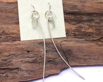 Sea Glass - Sterling Earrings  - Sea Glass - Handcrafted  Jewelry - 925 sterling jewelry