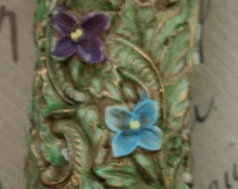 Vintage German Figural Flowers and Scroolwork Pillar Candle
