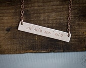 Coordinates Rose Gold Bar Necklace - Hand Stamped Jewelry -Layering Necklace by Betsy Farmer Designs - Available in Yellow gold and Sterling