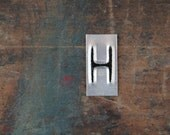 vintage industrial letter H / metal letters / letter art