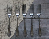 antique set of forks, antique flatware, rustic silverware; utensils