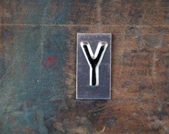 vintage industrial letter  Y / metal letters / letter art