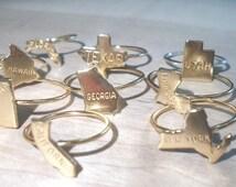 State Ring -State stacking ring-Gold Midi Ring/State Love Ring/California Ring/Texas Ring/New York Ring/Utah Ring/Arizona Ring/