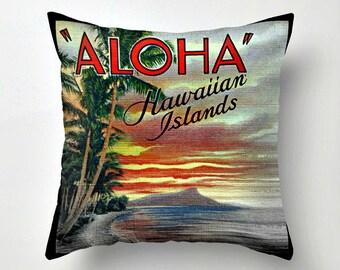 HAWAII Pillow Cover, Aloha Pillow, Sunset Pillow, Vintage Hawaii Art, Beach Decor, Throw Pillow, Decorative Pillow, Hawaiian Islands