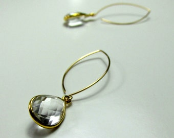 White Topaz, 14k Gold Filled Earrings