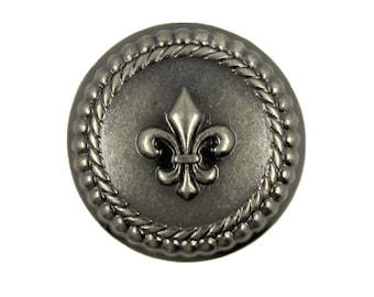 Metal Buttons - Fleur-De-Lis Metal Buttons , Gunmetal Color , Shank , 0.91 inch , 10 pcs