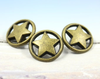 Metal Buttons - Ring Star Metal Buttons , Antique Brass Color , Shank , 0.59 inch , 10 pcs