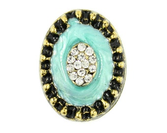 Metal Buttons - Rhinestone Bouquet in Turquoise Enamel Antiqued Gold Oval Shank Metal Buttons. 1 inch , 1 pc