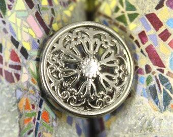 Metal Buttons - Flowery Engraving Metal Buttons , Shiny Gunmetal Color , Openwork , Shank , 0.83 inch , 10 pcs
