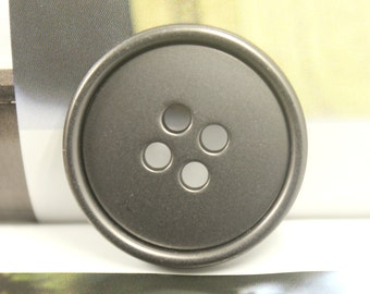 Metal Buttons - Thick Pearlized Gunmetal Buttons , 4 Holes , 1.10 inch , 4 pcs