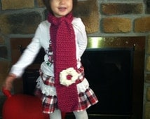 Crochet baby girl scarf, fuschia color with a big white flower