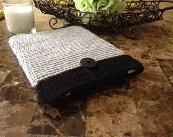 Crochet iPad case, handmade case for iPad, beautiful grey iPad case with a button READY to ship