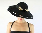 SALE- Vintage 1940s Wide Brimmed Tilt Hat- Black Wool Fall Fashion Accessory with Leaf Cutouts & Floral Adornments