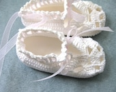 Sweet Crocheted Baby Booties, White, Pink  (VC151)