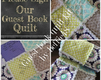 Memory Guest Book Quilt Kit, Customized,  FAST Shipping