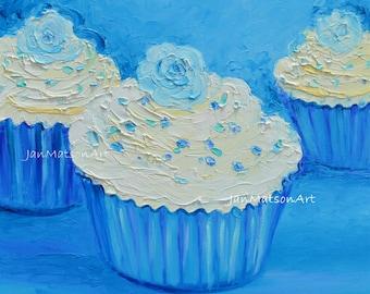 Cupcake painting, cake painting, kitchen decor art, cup cake art, Cafe art, kitchen painting, nursery painting, patisserie art, Jan Matson