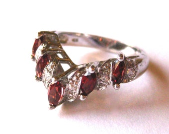 vintage ring sterling silver jeweled garnet wedding band ring size 65