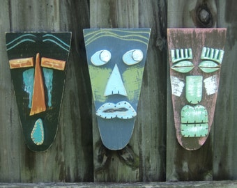 Tiki Bar, Tiki Man, Wood Sculpture, Tiki Mask, Primitive Wall Hanging, Rustic Beach House